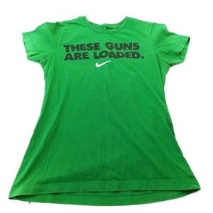 NIKE Women's Green Slim Fit Graphic Tee Shirt Med